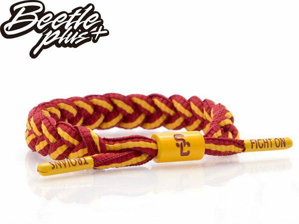 BEETLE PLUS 西門町經銷 全新 美國品牌 RASTACLAT SHOELACE BRACELET 南加大 紅黃 鋼鐵人 線條 雙色 鞋帶 編織 手環 RA-67