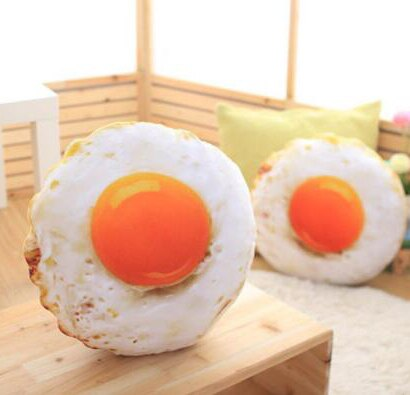 【葉子小舖】荷包蛋造型抱枕/靠墊/雞蛋枕頭/食物抱枕/煎蛋公仔/療癒娃娃/生日交換禮物/情人節