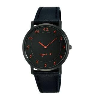 agnes b 7N00-0BC0C(BG4007P1)法式簡約時尚腕錶/黑面紅34mm
