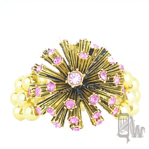 ~Barocco Nuts~ 手環 派對系列:粉晶古金 晶鑽繡球~彈力手環 夾式 手鐲 首