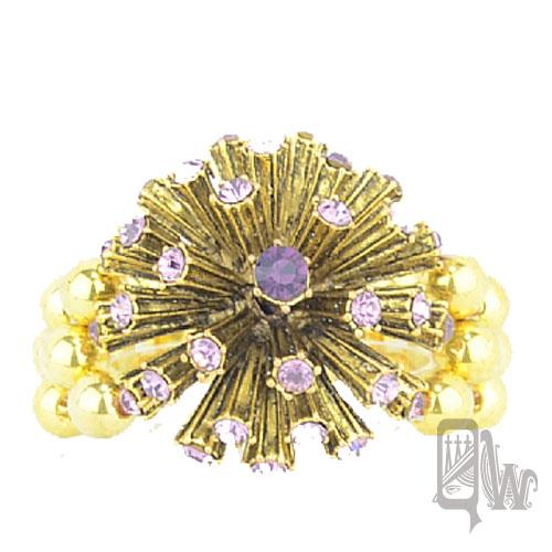 【Barocco Nuts】[手環]派對系列:紫晶古金 晶鑽繡球-彈力手環 夾式 手鐲 首飾/手飾(PARTY 飾品/BLING)