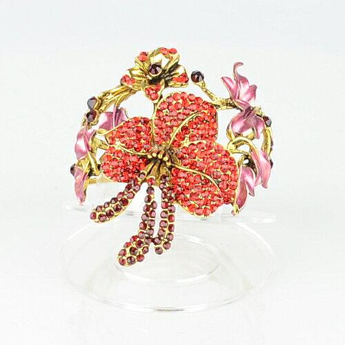 【Barocco Nuts】[手環]派對系列:晶鑽扶桑/朱槿花 豔紅古金-夾式手鐲(萬聖節HALLOWEEN化妝舞會COSPLAY)