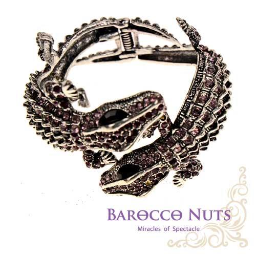 ~Barocco Nuts~ 手環 雙鱷交列~紫鑽古銀 夾式手鐲 鱷魚  惡魚  土龍