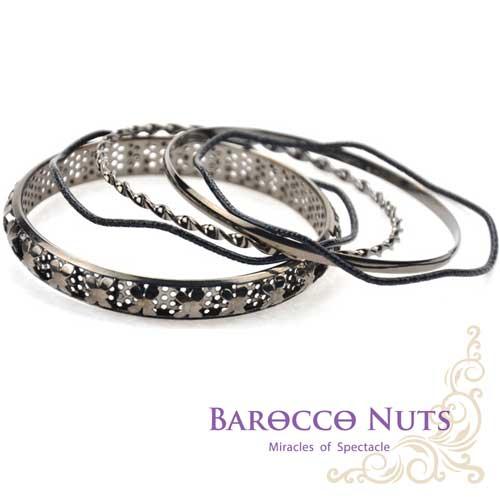 ~Barocco Nuts~^~ ^~手環系列:飛翔蜻蜓鏤孔五連手環組~雙黑三銀環^(手飾