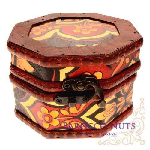 ~Barocco Nuts~^~藏寶箱^~ 5吋八角盒~復古深黑底圖騰花藏寶盒^(仿古 金