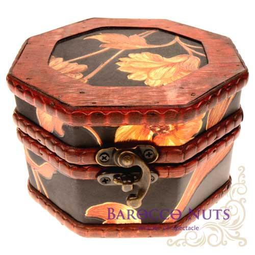 ~Barocco Nuts~^~藏寶箱^~ 5吋八角盒~復古深藍底大金菊藏寶盒^(仿古