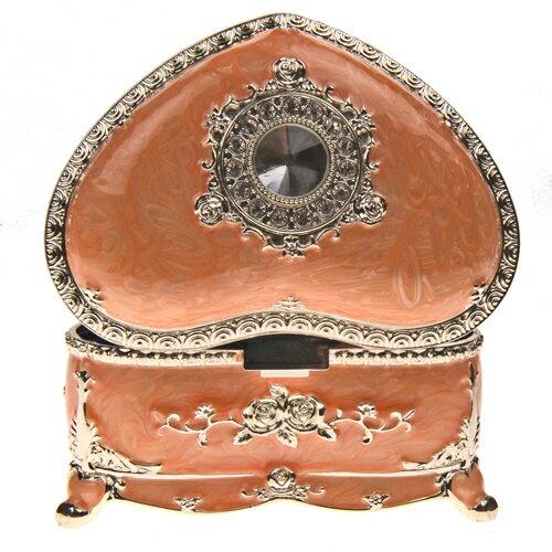 【Barocco Nuts】[特色擺飾] 4.5吋 珠光粉橘色 彩錫琺琅圓鑽心型珠寶盒(家飾擺飾/收納罐/歐風/雜貨/生活用品/首飾盒/禮物/俄羅斯風格/歐風)