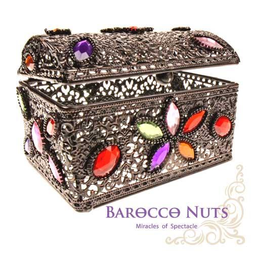 ~Barocco Nuts~^~特色擺飾^~4吋 摩洛哥風格 宮廷鏤空彩石群花鑲嵌藏寶箱~