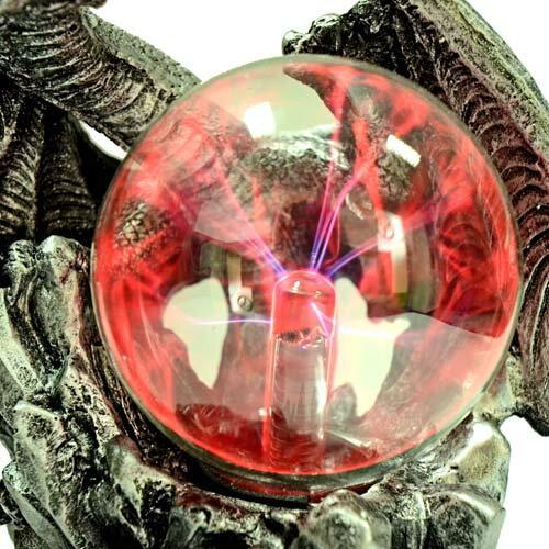 【Barocco Nuts】[特色擺飾] 3.5吋銀色金屬雙頭翼龍 雷電魔球(插座/閃光球/電漿球/靜電球/電子魔球/擺設裝飾/舒壓/辦公室小物)