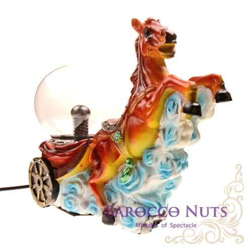 【Barocco Nuts】[特色擺飾] 4吋 騰雲紅馬 木車造型雷電魔球(插座/閃光球/電漿球/靜電球/電子魔球/擺設裝飾/舒壓/辦公室小物)