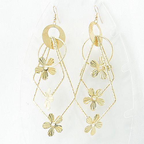 ~Barocco Nuts~ 耳飾 派對系列:領帶小花~閃亮金 勾針式 垂墜 顯目 大耳環