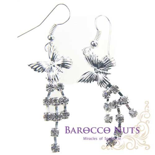~Barocco Nuts~    耳環系列:白銀水鑽蝴蝶斜姿垂小片耳環 首飾  耳飾