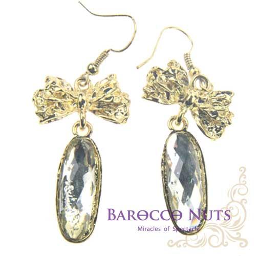 ~Barocco Nuts~^~ ^~ 耳環系列:白晶寶石金典蝴蝶結耳環^(首飾 耳飾 垂