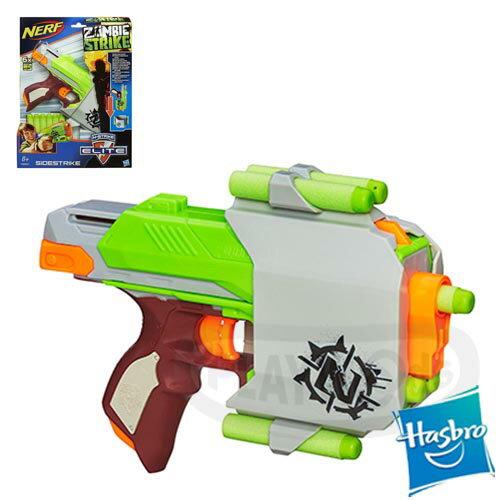 【Playwoods】[NERF樂活打擊]N-STRIKE殭屍系列 : 打擊者側擊衝鋒槍SIDESTRIKE(ZOMBIE STRIKE-孩之寶Hasbro-殭屍系列子彈)(預購)