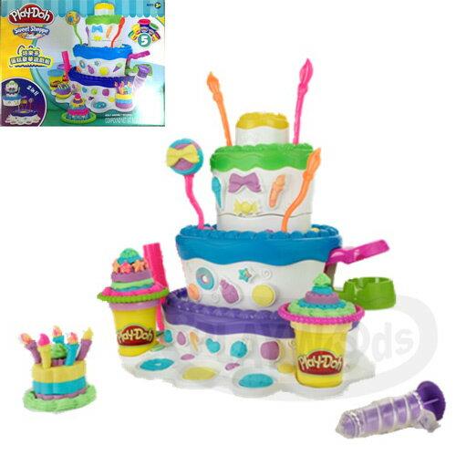 【Playwoods】[培樂多黏土Playdoh]蛋糕豪華遊戲組Cake Mountain (內含5罐奶油花黏土&模具/DIY/安全/孩之寶)