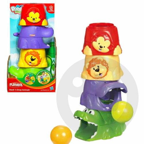 【Playwoods】[孩之寶-PLAYSKOOL-兒樂寶]動物彈跳玩球遊戲組:POPPIN PARK STACK DROP ANIMALS(學習辨識形狀&顏色)