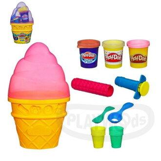【Playwoods】[培樂多黏土PLAYDOH]迷你蛋捲冰淇淋遊戲組Ice Cream Cone Container Craft Kit (內含3罐黏土&模具/DIY/安全/孩之寶Hasbro)