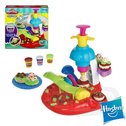 【Playwoods】[培樂多黏土PLAYDOH]奶油花餅乾遊戲組 Flip'n Frost Cookies(內含3罐黏土&模具-孩之寶)(預購)