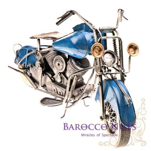 【Barocco Nuts】[復古懷舊] 交通工具:37cm鐵製藍色哈雷機車-HS133B-2(擺飾/模型/裝飾/工藝/復古/重機/收藏)