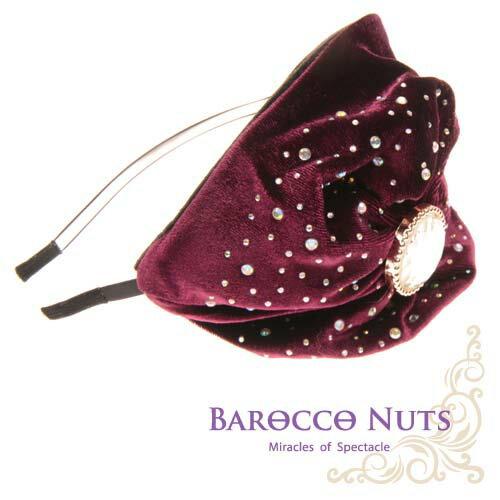 ~Barocco Nuts~^~ ^~ 髮飾系列:晶鑽骷髏貝蕾帽髮箍~紫色 ^(繁鑽點點大