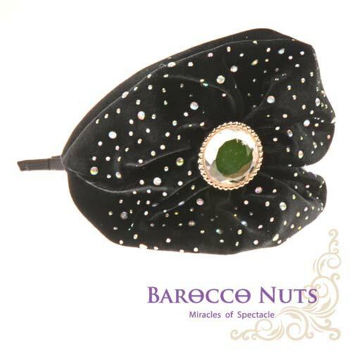 ~Barocco Nuts~^~ ^~ 髮飾系列:晶鑽骷髏貝蕾帽髮箍~黑色 ^(繁鑽點點大