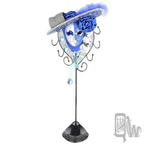 【Barocco Nuts】[飾品架]水鑽 玫瑰帽 面具-雙色 銀藍 女伶(首飾架/戒指架/項鍊架/耳環架/飾品架/吊飾架/手環架)