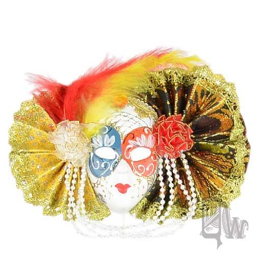 【Barocco Nuts】[面具]派對系列:對稱綠黃扇 小面具飾品 繽紛嘉年華(舞會/嘉年華/歌劇魅影/party/化裝舞會/化妝舞會)