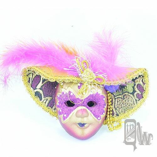 【Barocco Nuts】[面具]派對系列:羽毛紫金大沿帽 小面具掛飾 紫蒙面客(舞會/嘉年華/歌劇魅影/party/化裝舞會/化妝舞會)