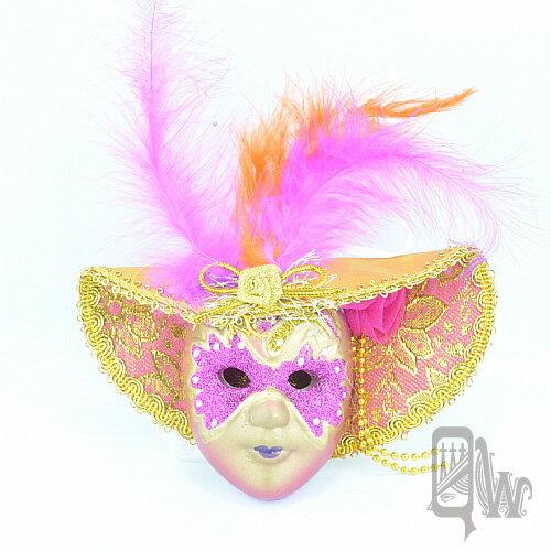 【Barocco Nuts】[面具]派對系列:羽毛桃金大沿帽 小面具掛飾 桃蒙面客(舞會/嘉年華/歌劇魅影/party/化裝舞會/化妝舞會)