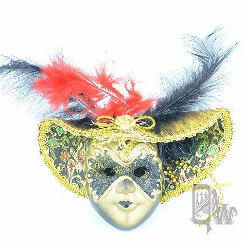 【Barocco Nuts】[面具]派對系列:羽毛黑金大沿帽 小面具掛飾 黑蒙面客(舞會/嘉年華/歌劇魅影/party/化裝舞會/化妝舞會)