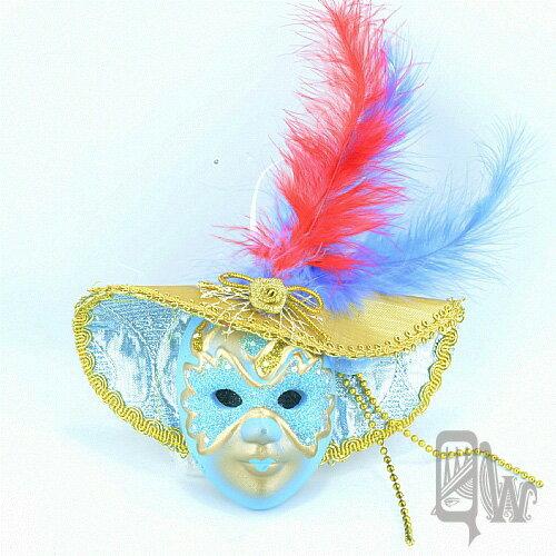 【Barocco Nuts】[面具]派對系列:羽毛水藍大沿帽 小面具掛飾 藍蒙面客(舞會/嘉年華/歌劇魅影/party/化裝舞會/化妝舞會)