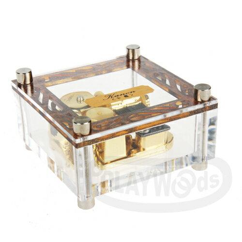 ~Barocco Nuts~ 音樂盒Music Box  水晶透明 迷你鍍金 正方小盒 小