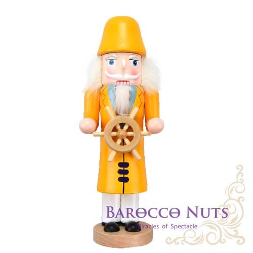 【Barocco Nuts】[胡桃鉗娃娃]達人系列:10吋黃色長大衣藍眼白鬍子舵手(25cm/居家擺設/童話故事/木偶/糖果王國/手工/禮物/生日/聖誕節)