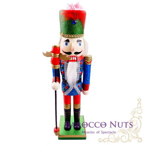 ~Barocco Nuts~^~胡桃鉗娃娃^~皇宮系列:15吋 紅羽毛金邊綠帽 亮粉藍衣紅