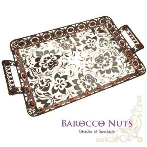 【Barocco Nuts】[特色擺飾] 20吋 古銅黃寶石太陽邊雙耳托盤-銀蓮花底盤(水果盤/置物籃/家居擺飾/生活雜貨/點心盤/食物盤)