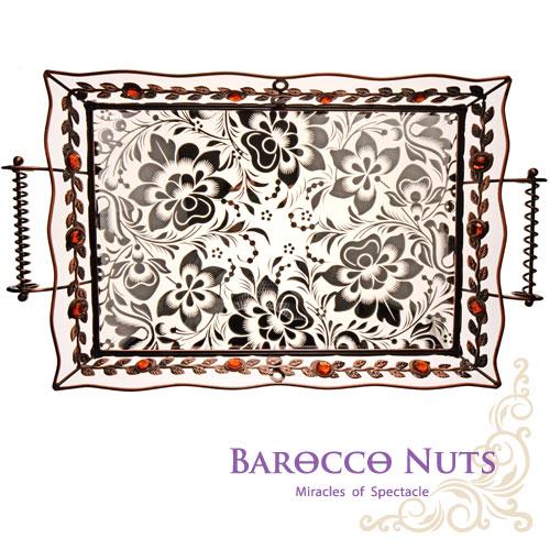 【Barocco Nuts】[特色擺飾] 20吋 古銅黃寶石 桂冠枝葉雙耳托盤-銀蓮花底盤(水果盤/置物籃/家居擺飾/生活雜貨/點心盤/食物盤)