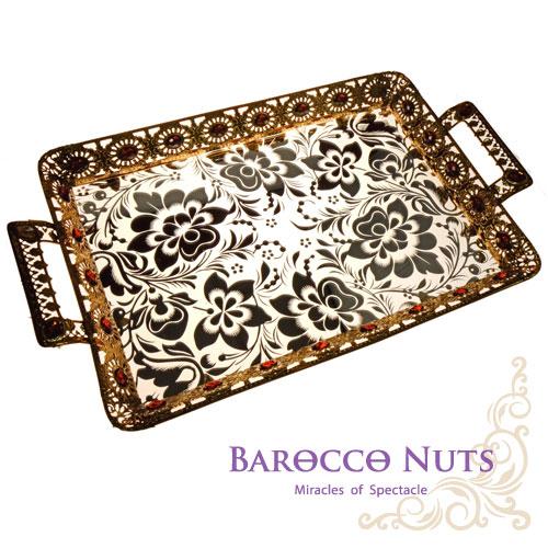 【Barocco Nuts】[特色擺飾] 20吋 黃金黃寶石太陽邊雙耳托盤-銀蓮花底盤(水果盤/置物籃/家居擺飾/生活雜貨/點心盤/食物盤)