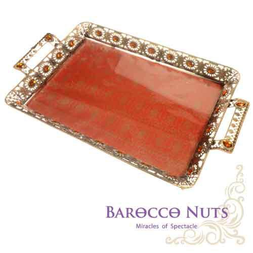 【Barocco Nuts】[特色擺飾] 20吋 古銅黃寶石 太陽邊雙耳托盤-大紅吉祥底盤(水果盤/置物籃/家居擺飾/生活雜貨/點心盤/食物盤)