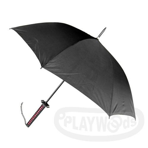 【Playwoods】[雨傘]天鎖斬月 造型傘 黑柄黑身Umbrella(黑崎一護-斬魄刀-死神-日本刀-武士刀-寶刀-武士道-火影忍者-海賊-卍解-萬解-月牙天衝-兵器-忍者/萬聖節/COSPLAY)