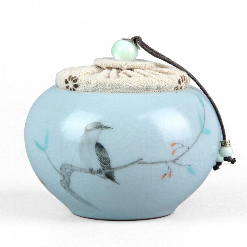 汝窯茶葉罐汝瓷密封罐陶瓷存茶罐圓形茶倉儲茶罐古典中式簡約罐子