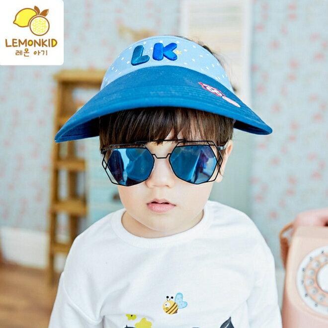 Lemonkid◆可愛活力滿版星星LK字母質感立體刺繡大帽沿透氣空頂遮陽帽-藏青帽沿