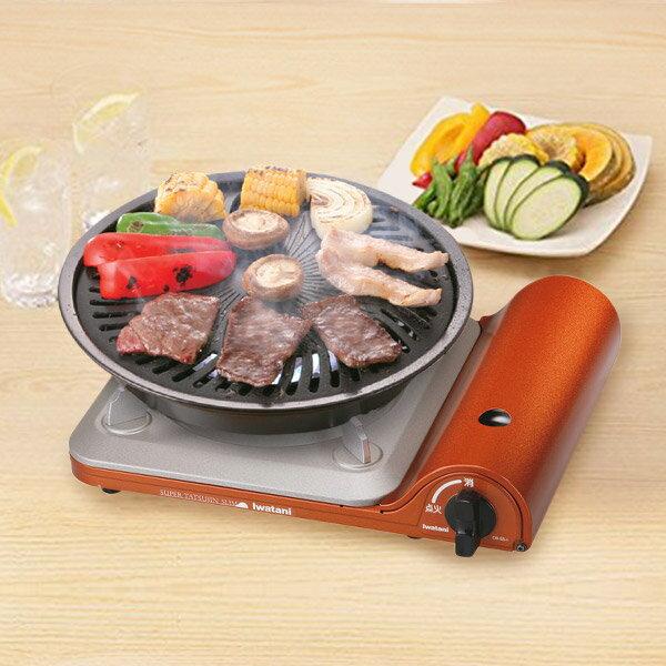 Iwatani 超薄攜帶式卡式爐 3.3KW CB-SS-1+ Iwatani圓形烤肉盤(小) CB-P-Y2  贈瓦斯罐1入 0