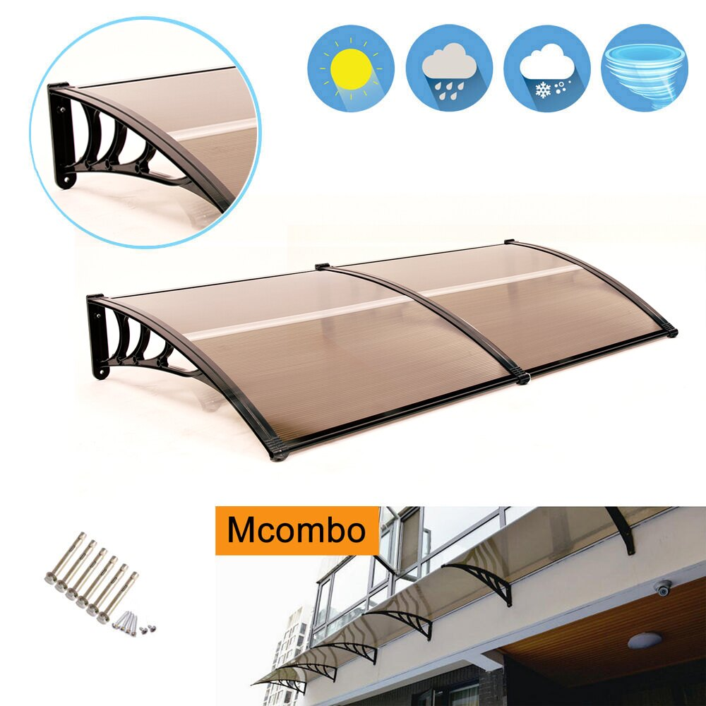 "MCombo 40""x80"" Brown Window Awning Outdoor Polycarbonate Front Door Patio Cover Garden Canopy 0"