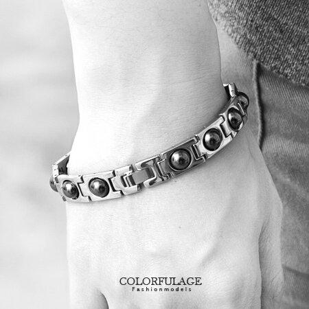 手鏈 白鋼手環配色滾珠磁石 抗過敏氧化 時尚魅力 簡單大方好搭配 柒彩年代【NA317】中性手環 0