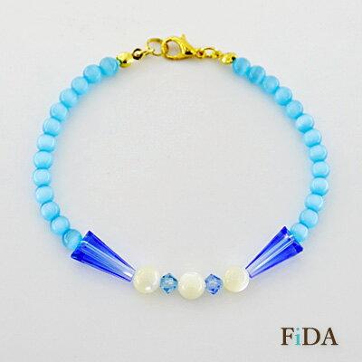 貓眼石貝殼水晶串珠手環手鍊 - FiDA