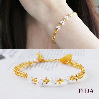 日本進口珠 陶瓷金色秋葉 珍珠編織手環  - FiDA