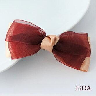 甜美蝴蝶結緞帶網紗雙色手工飾品髮夾 -FiDA