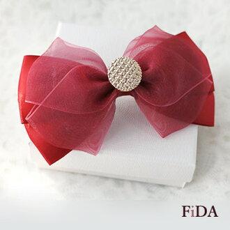 酒紅甜美蝴蝶結緞帶網紗手工飾品髮夾 -FiDA
