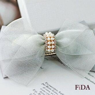 珍珠綴水鑽蝴蝶結緞帶網紗手工飾品髮夾 -FiDA