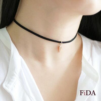 頸鍊 韓國流行 麂皮絨小卯釘頸鍊 -FiDA